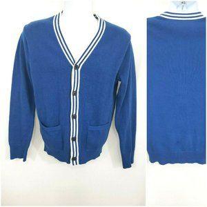 J. Crew Blue Striped Varsity Cardigan Sweater